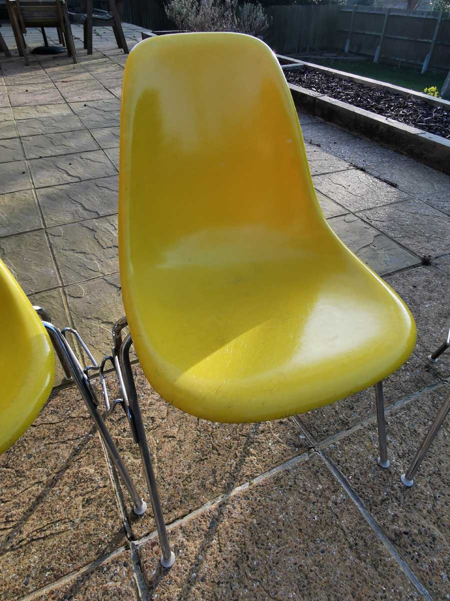 Brilliant Yellow 1950s Herman Miller Eames DSS Stacking Side