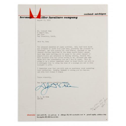 DJ De Pree Letter - 1952