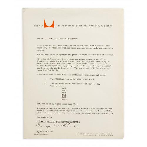 Max De Pree Letter - 1958