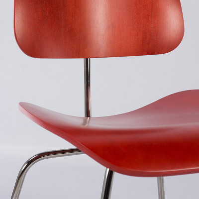 Close Up Of Herman Miller DCM In Red Aniline Finish