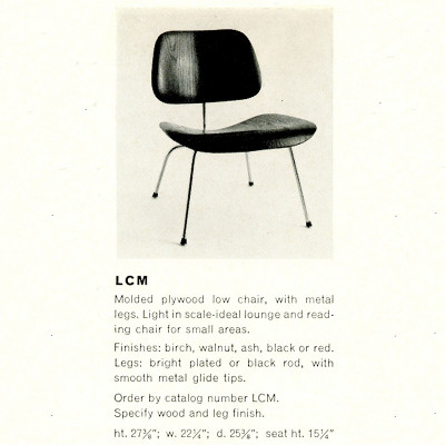 1955 Catalog page for LCM plywood chair