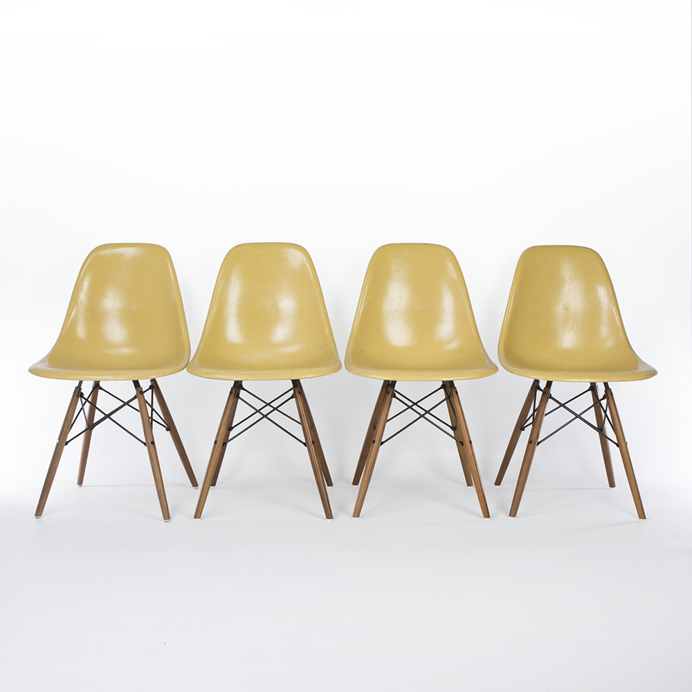 Ochre Light Yellow 1960s Herman Miller Eames DSW Dowel Side