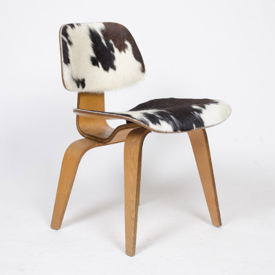 Early Evans Plywood DCW with Slunk Skin (calf) upholstery