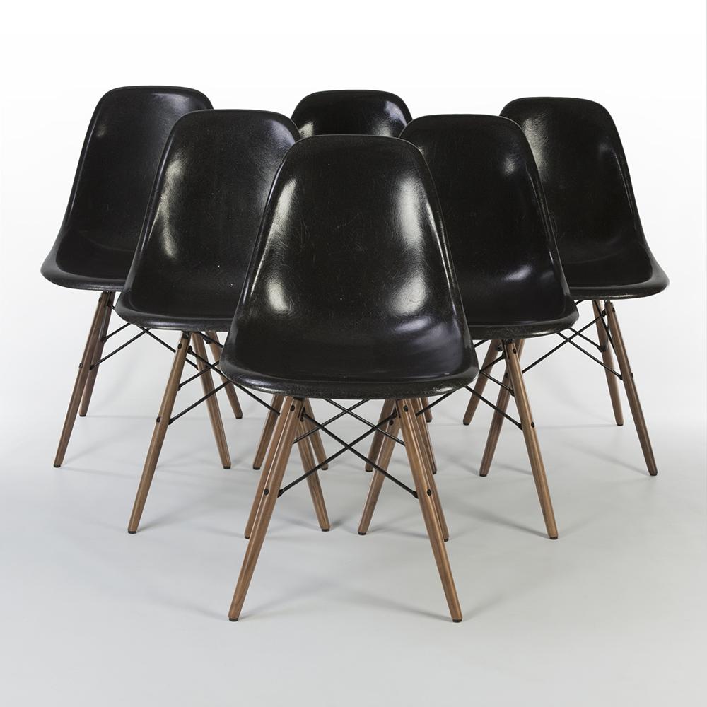 Black 1970s Herman Miller Eames DSW Dowel Side