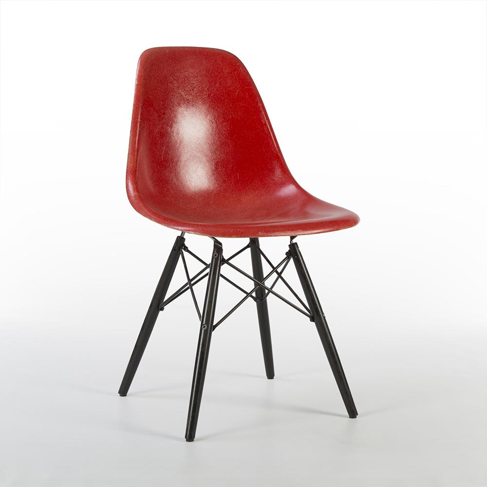 Red 1970s Herman Miller Eames DSW Dowel Side