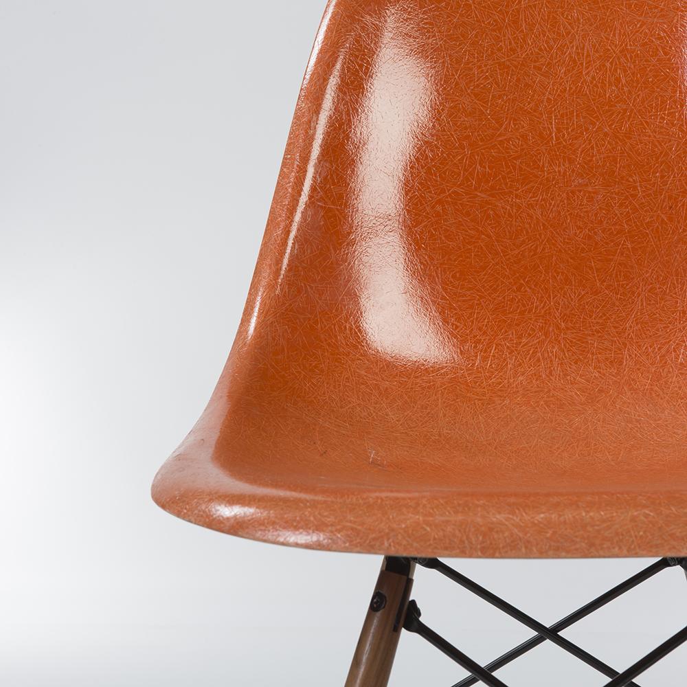 Red Orange 1950s Herman Miller Eames DSW Dowel Side