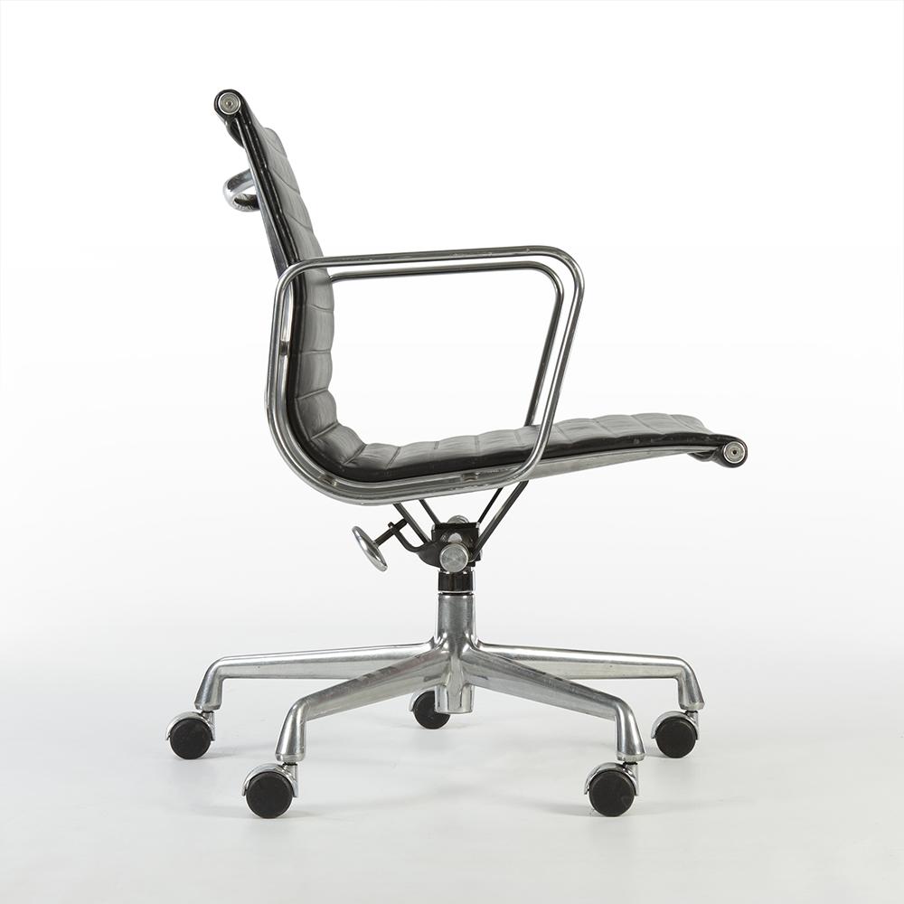 Black 1990s Herman Miller Eames Alu Group Low Back Side Chair