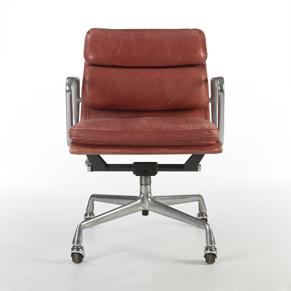 Red 1980s Herman Miller Eames Soft Pad low Back Side Chair