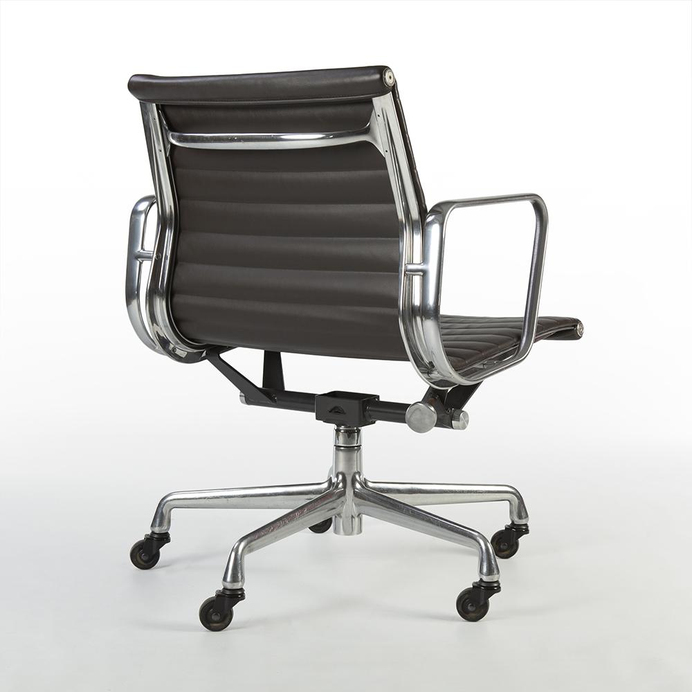 Seal Brown 2000s Herman Miller Eames Alu Group Low Back Side Chair