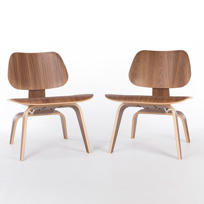 Later model Walnut Eames LCW plywood side chair
