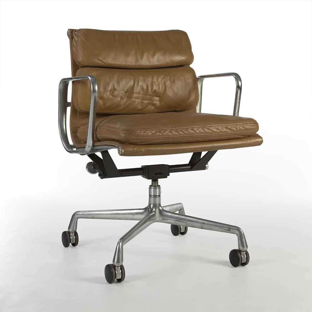 Tan Dark Brown 1978 Herman Miller Eames Soft Pad low Back Side Chair