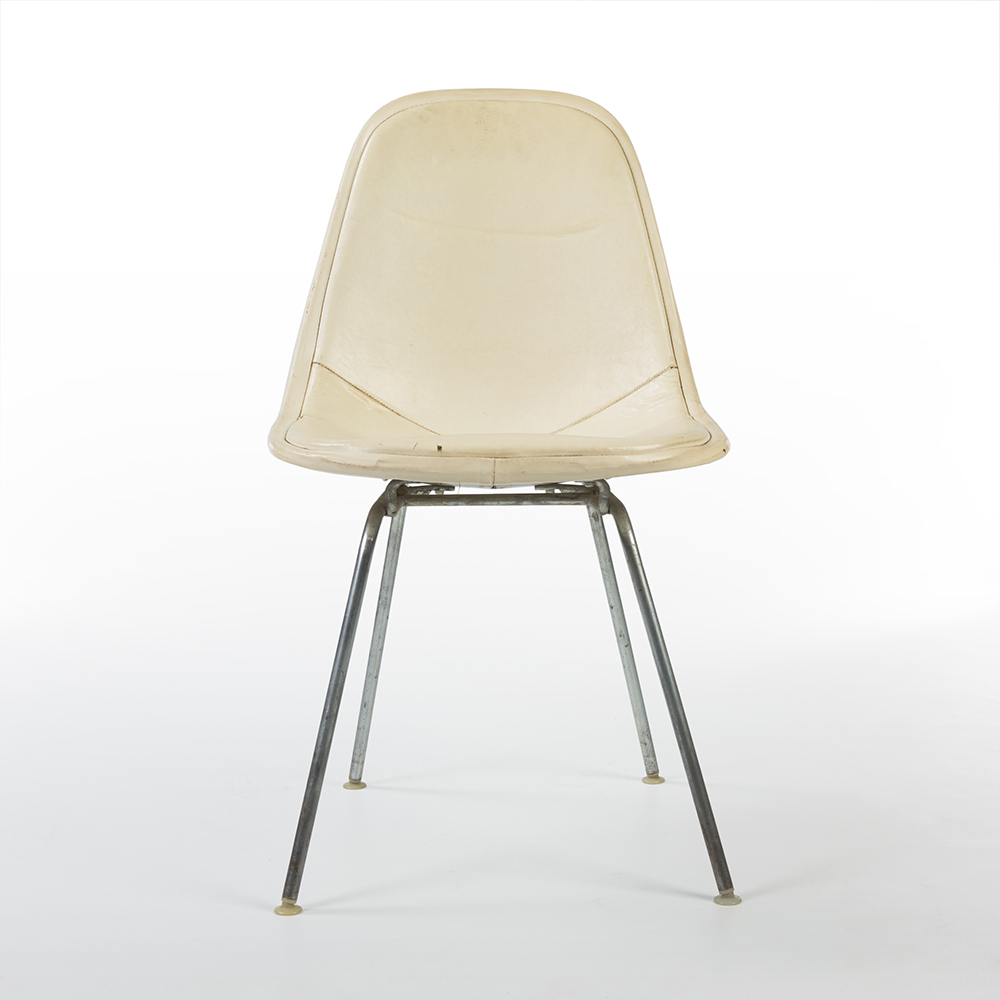 Parchment White 1960s Herman Miller Eames DKX - X-Base Wire Side