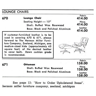 1959 Herman Miller Catalog prices showing lounger complete for $572