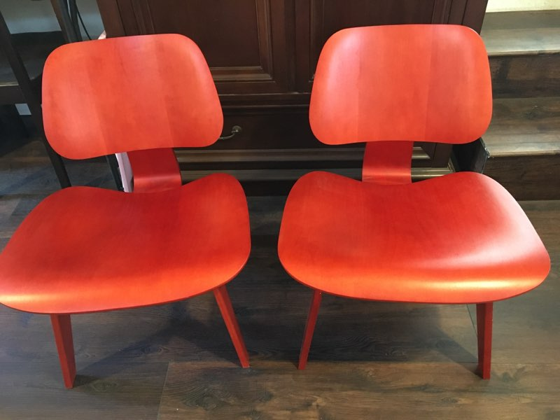 Red 2013 Herman Miller Eames LCW - Ply Lounge Chair Wood