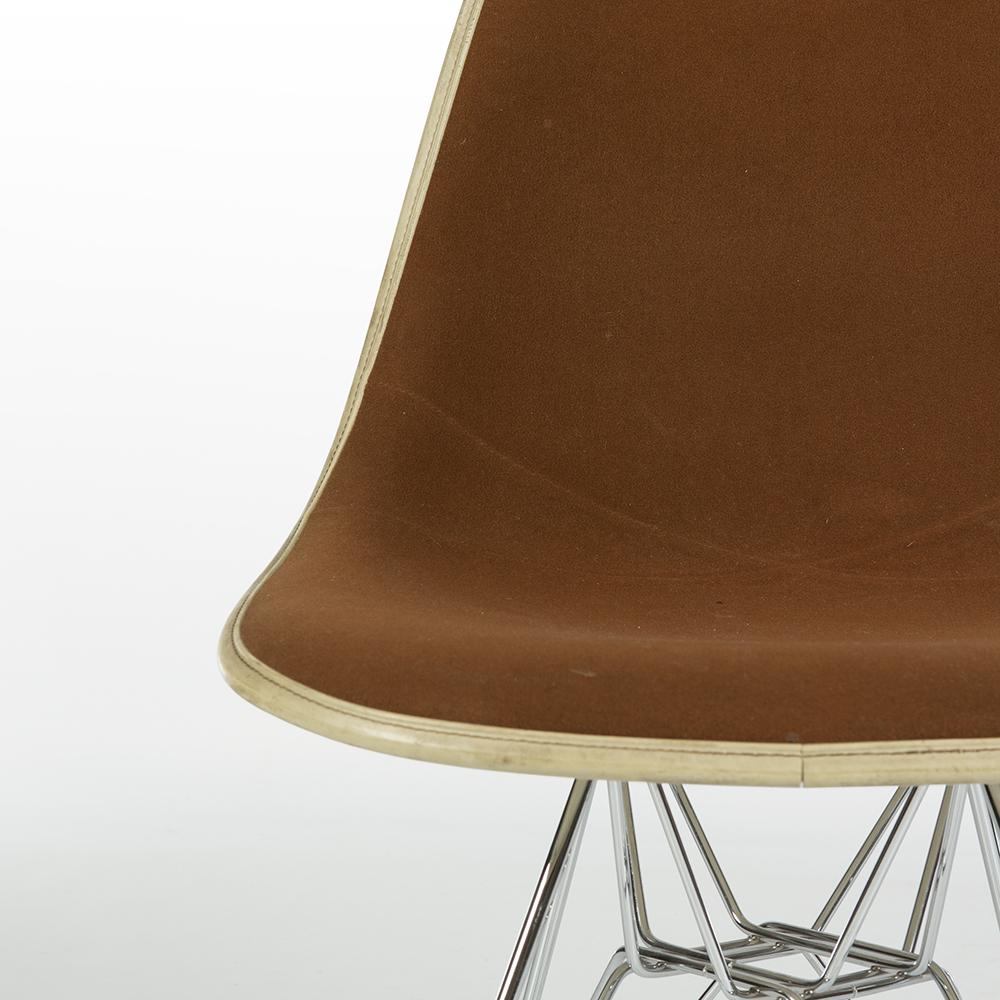 Tan Dark Brown 1980s Herman Miller Eames DSR Eiffel Side