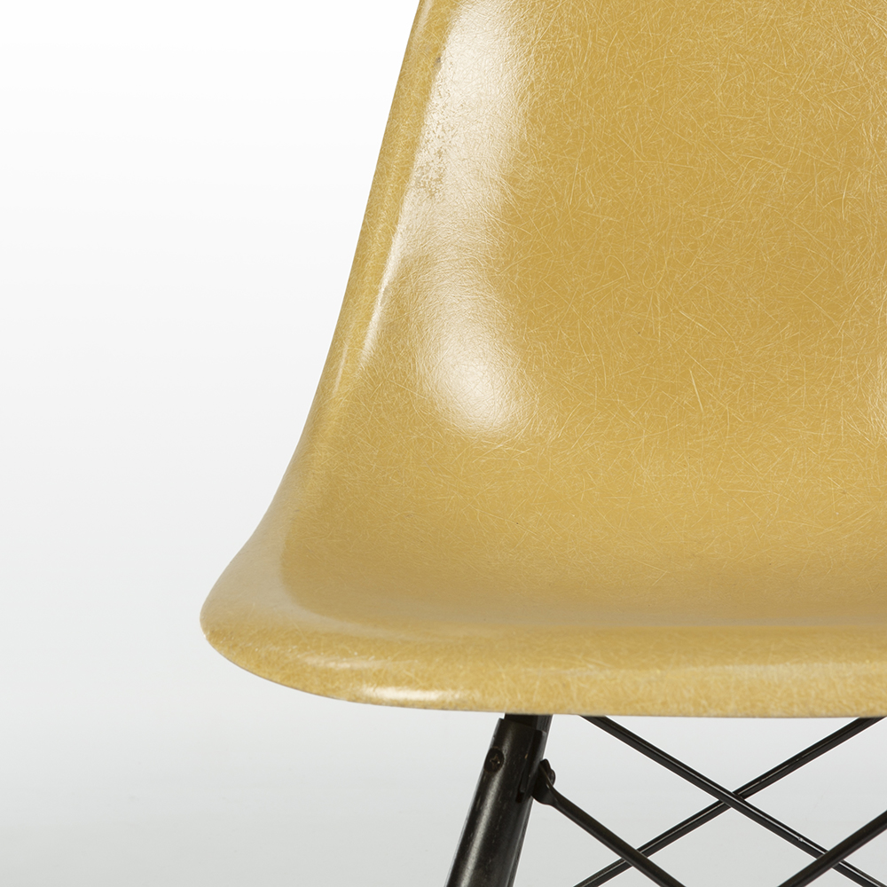 Ochre Dark Yellow 1970s Herman Miller Eames DSW Dowel Side