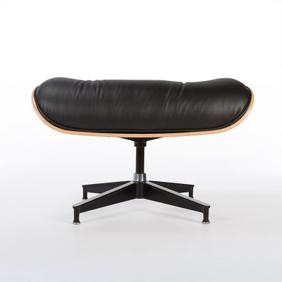 Eames Lounger ottoman in black and Walnut