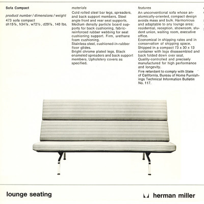 1976 Herman Miller catalog and specifications page