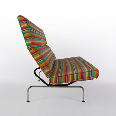 Side view of the Eames Compact Sofa in Girard Millerstripe fabric