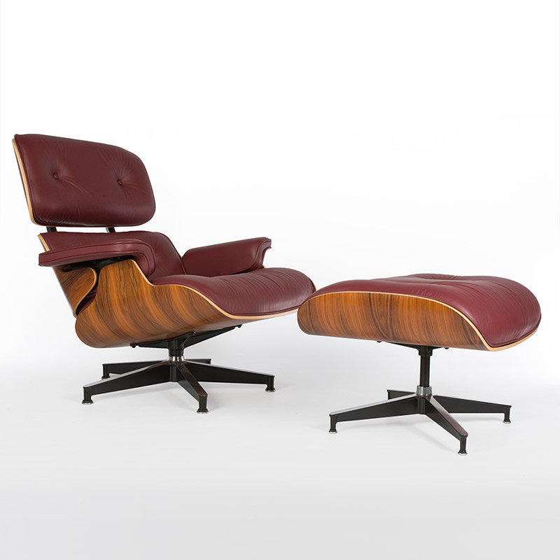 Post 2006 Palisander brought in to replicate Rosewood, on a 'tall' Eames Lounger Chair & Ottoman