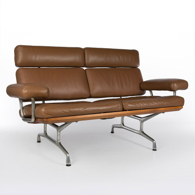 Early edition of the 2 seat Teak Sofa in Tan leather upholstery