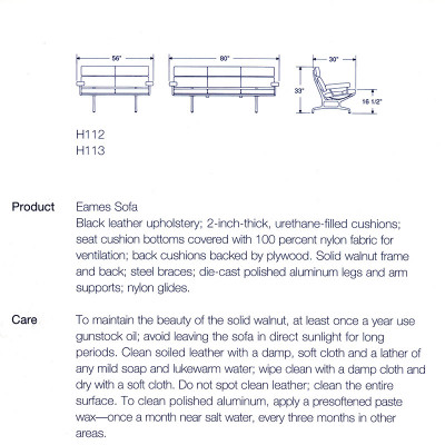 1990's Herman Miller catalog specifications page