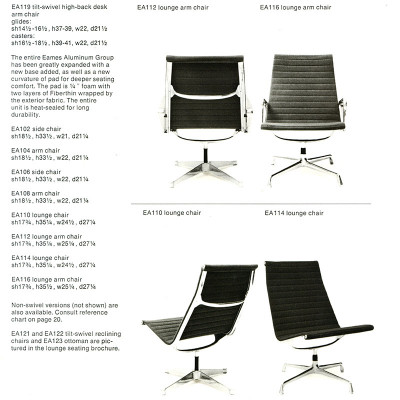 1968 Herman Mille Brochure page showing side by side 1st and 2nd gen Alu Loungers