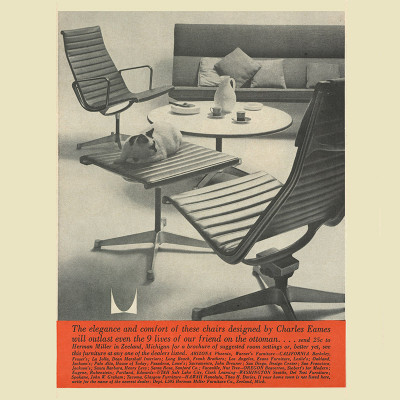 1959 Print ad for the Eames Alu Group Recliner