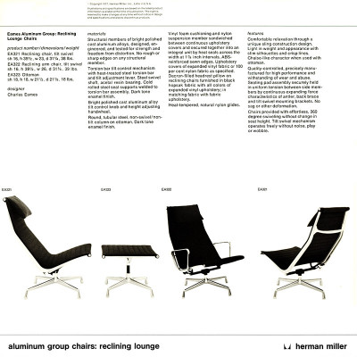 1970's Herman Miller Catalog page featuring Alu Recliner