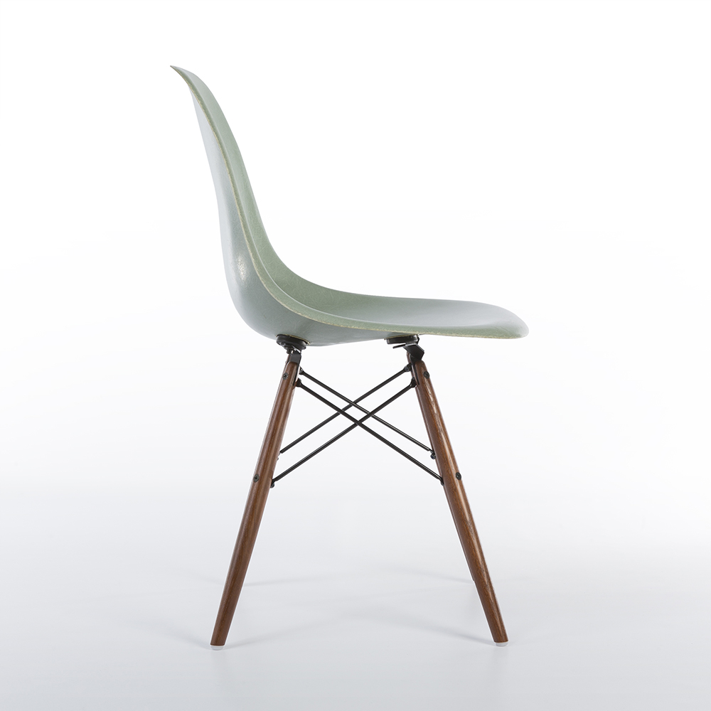 Sea Foam Green 1957 Eames DSW Dowel Side Chairs in very good condition