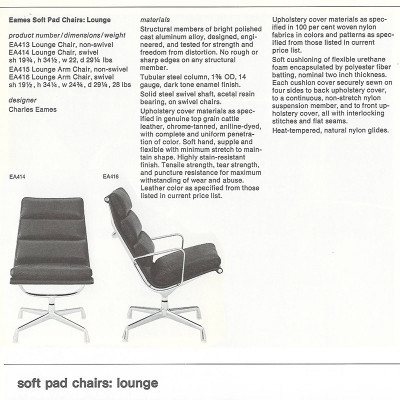 1970's Brochure page of the Soft Pad Lounger Chair