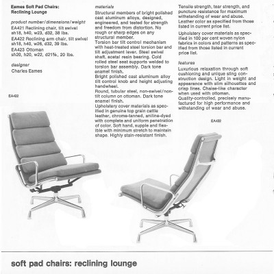 Original 1970's Herman Miller brochure page featuring the Soft Pad Reclining range