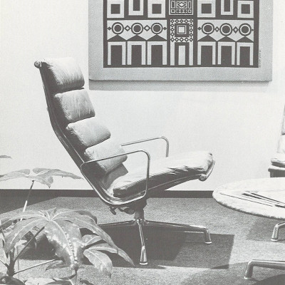 1970's vintage Herman Miller brochure advert page detailing a single lounge reclienr