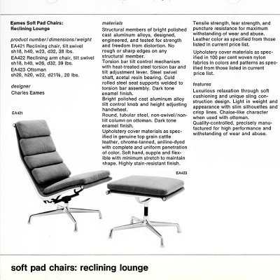 1970's Herman Miller brochure page detailing the Soft Pad Ottoman alongside the Lounger and Recliner