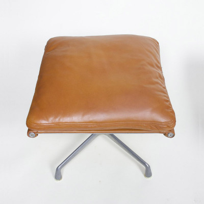 Early 1970's Soft Pad Ottoman seen in a tan leather upholstery