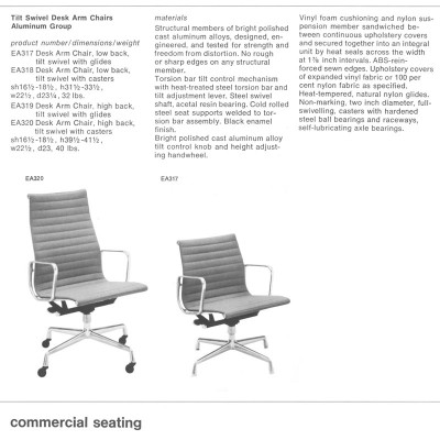 1970's Herman Miller Catalog Page featuring the specs of the Alu Group Side (seen alongside high back version)