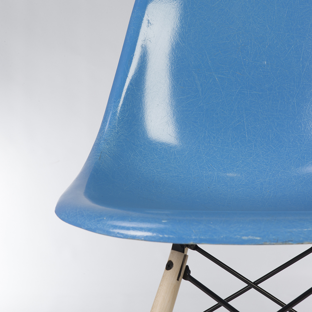 Blue 1960s Herman Miller Eames DSW Dowel Side Chairs in very good condition