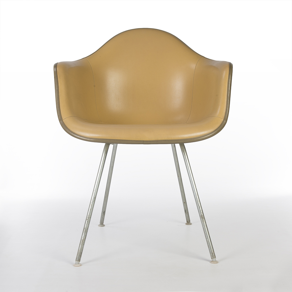 Brown 1970s Herman Miller Eames DAX (& Variants) Arm Chairs in very good condition