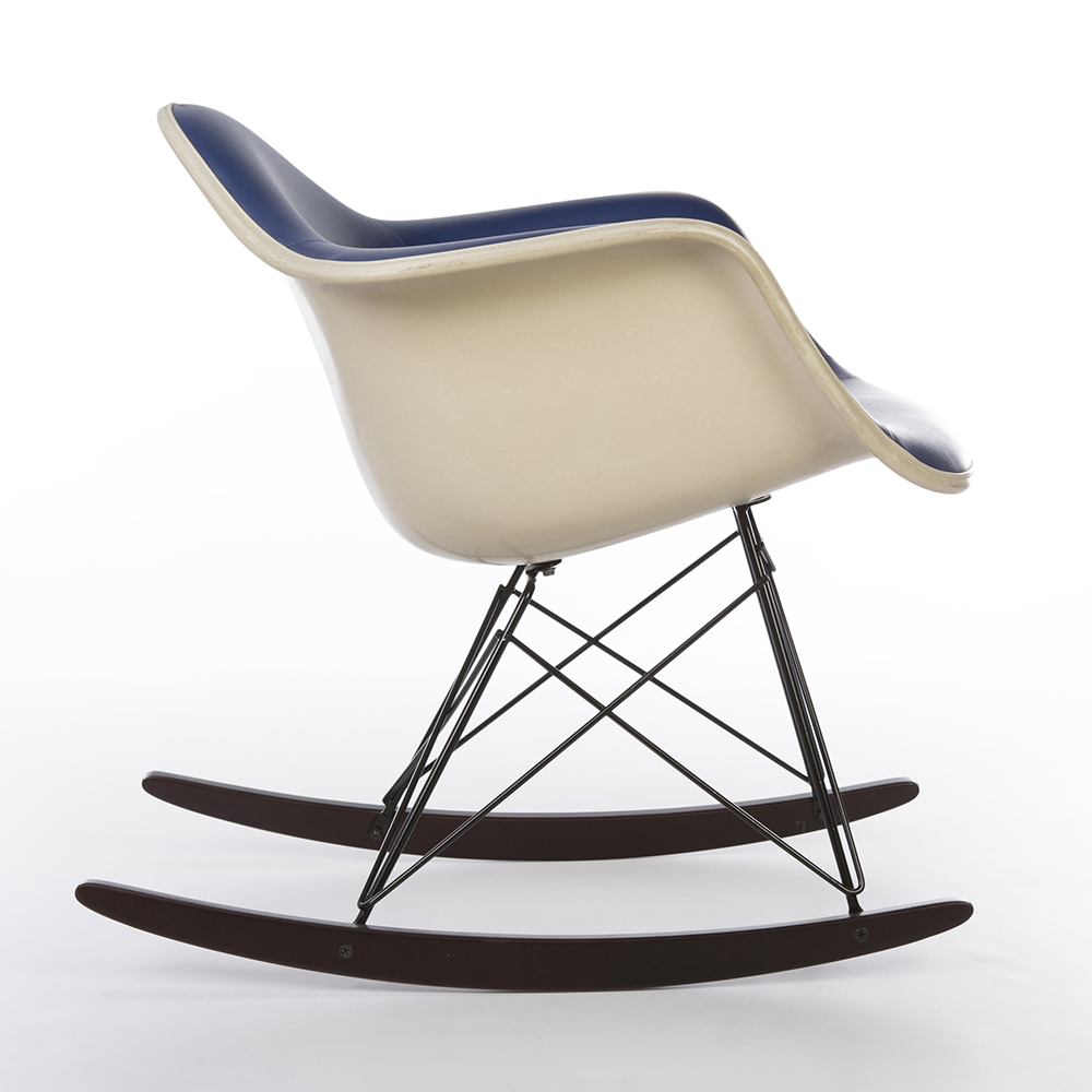 Blue 1970s Herman Miller Eames RAR Rocking Arm Chairs in very good condition