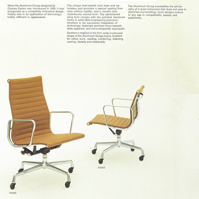1970's Alu Group Herman Miller brochure front page featuring the High Back chair