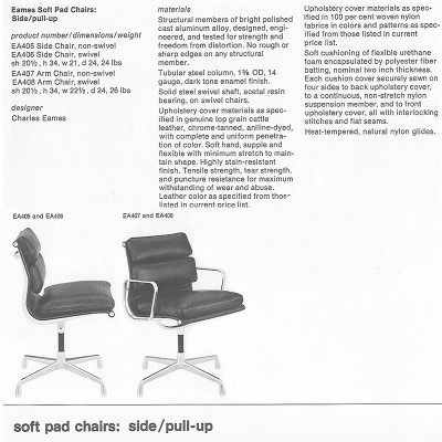 1970's Herman Miller catalog page featuring the Low Back Soft Pads