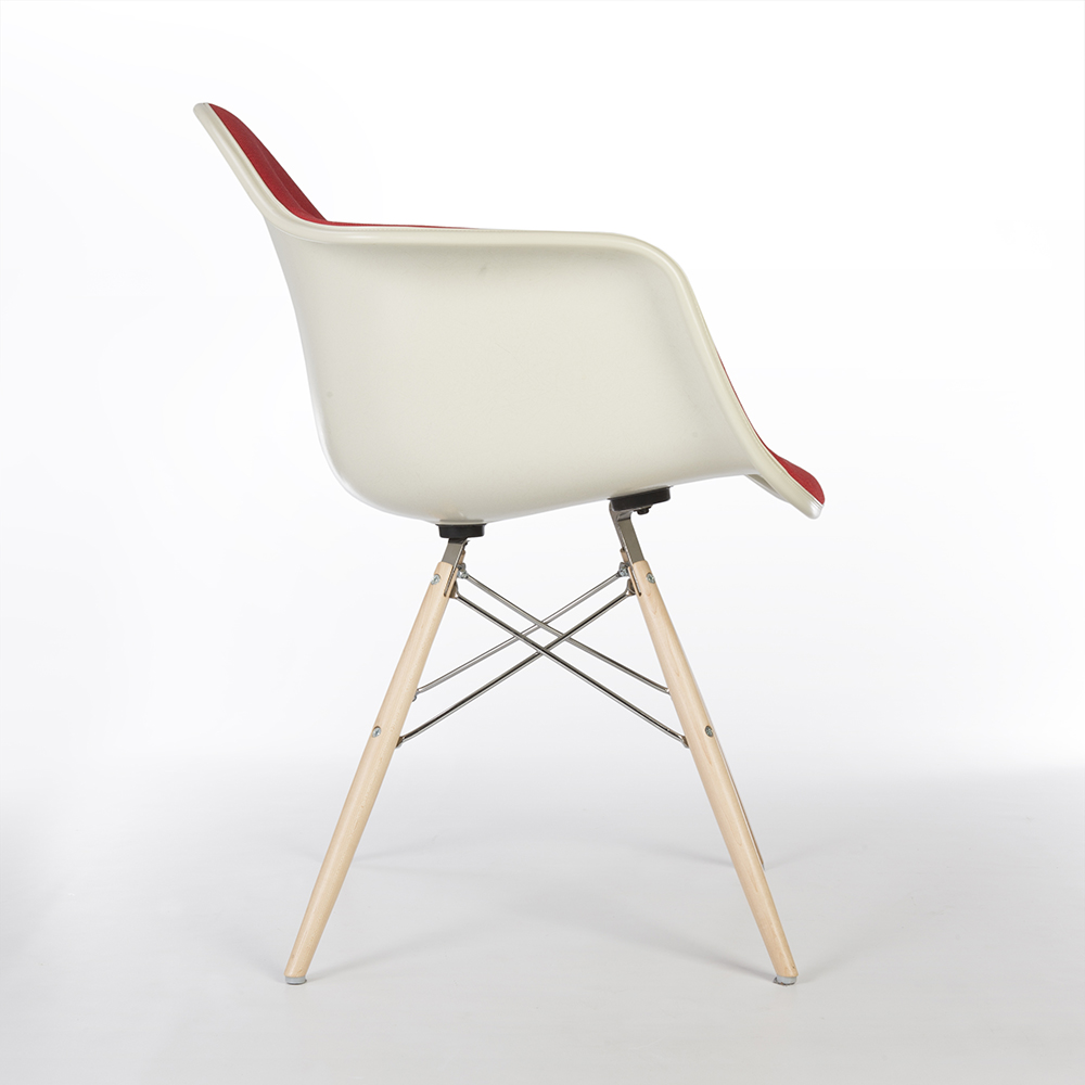 Red 2014 Herman Miller Eames DAW & PAW Dowel Arm Chairs in very good condition