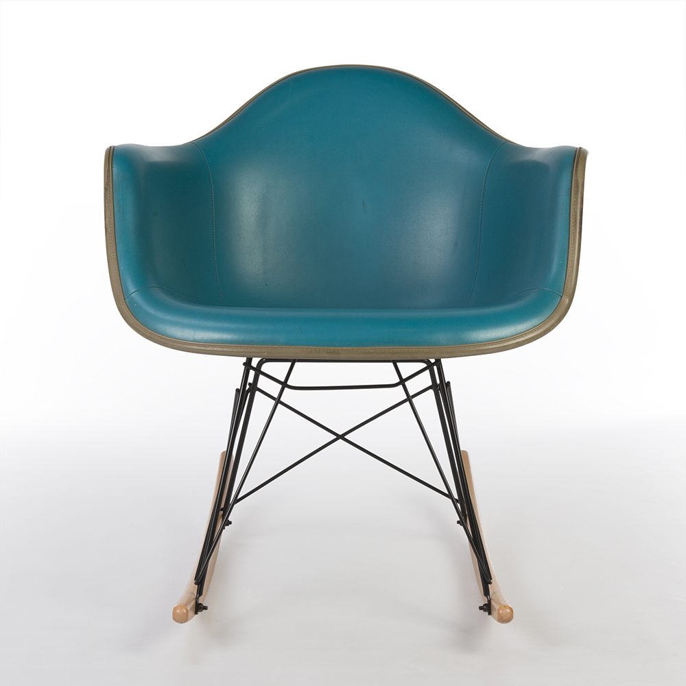 Turquoise Blue 1970s Herman Miller Eames RAR Rocking Arm Chairs in very good condition