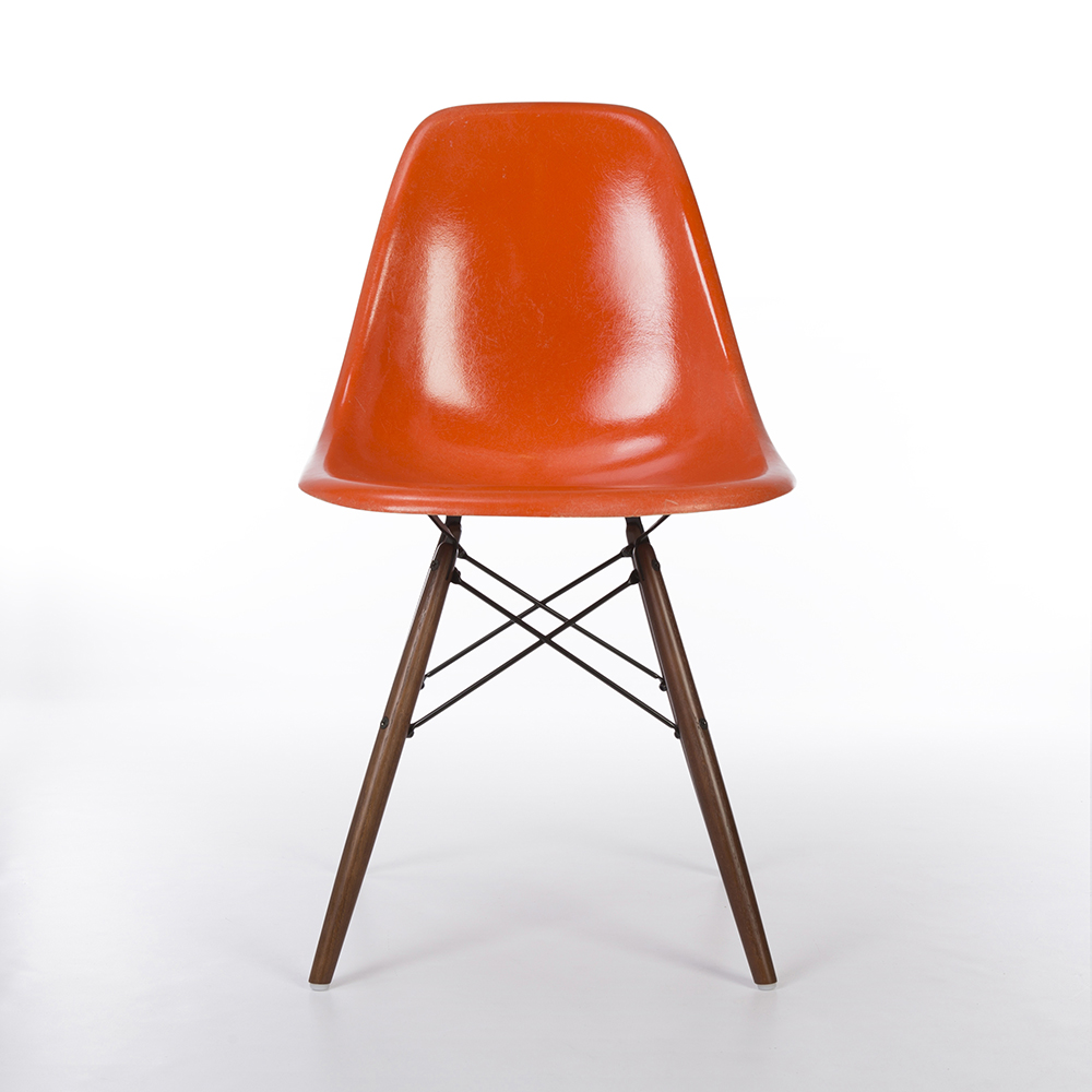 Orange 1960s Herman Miller Eames DSW Dowel Side Chairs in very good condition