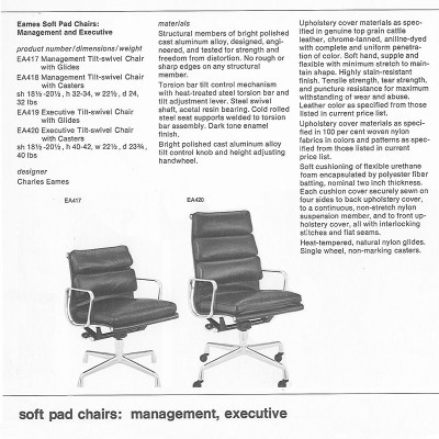 1970's Herman Miller Catalog Page detailing the High Back Soft Pad workplace chairs EA419 and EA420