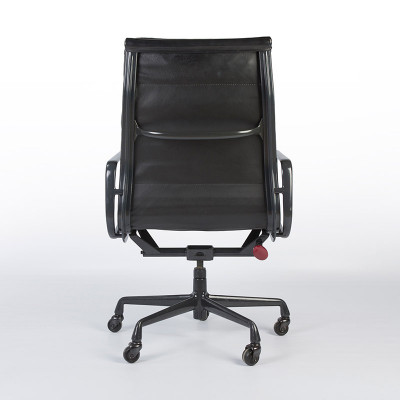 Rear view of a later type High Back Soft Pad Chair with black frame, note the red adjuster knob