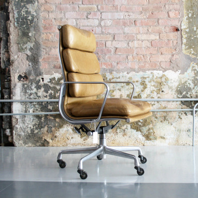 Light Tan Leather version of the High Back Soft Pad Chair on the 5-star 2nd gen base (Image courtesy of CIrca Modern)