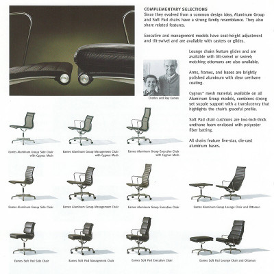 A mid 2000's Herman Miller Catalog page featuring the Alu Group as a whole
