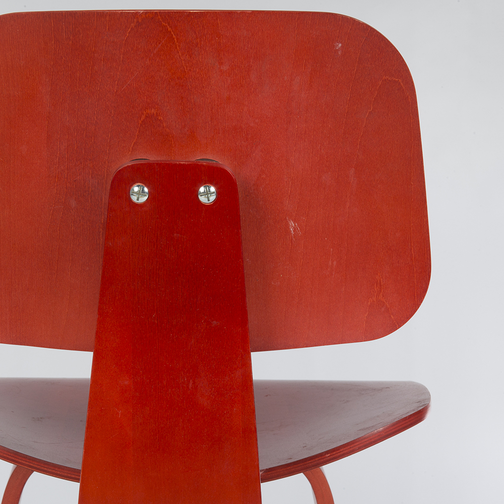 Red 2010s Herman Miller Eames DCW - Ply DiningChair Wood Chairs in very good condition