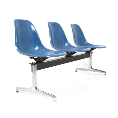 3 way Tandem Seating Group using Ultramarine Eames Side Shells